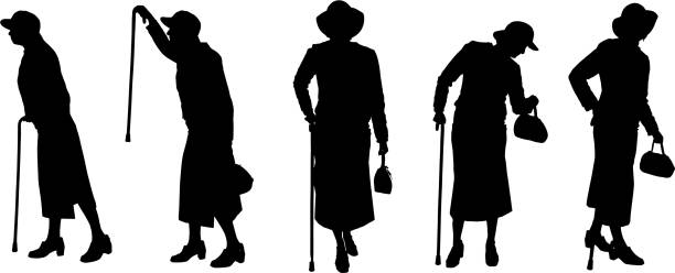 vector silhouette of old people. - old man kissing stock illustrations, clip art, cartoons, & icons
