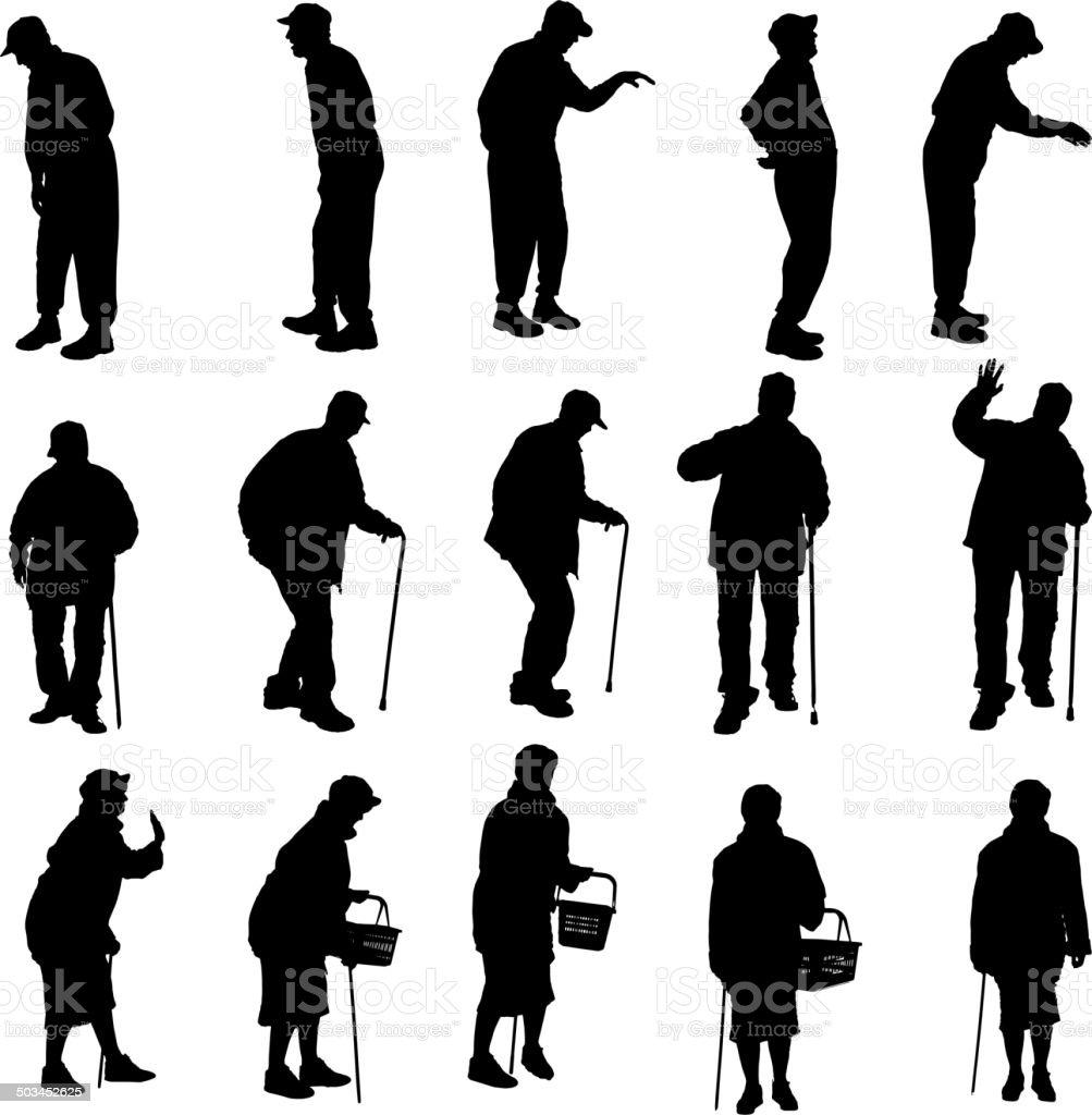 Vector Silueta de las personas mayores. - ilustración de arte vectorial