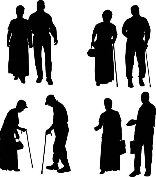 vector silhouette of old people. - old man in black stock illustrations, clip art, cartoons, & icons
