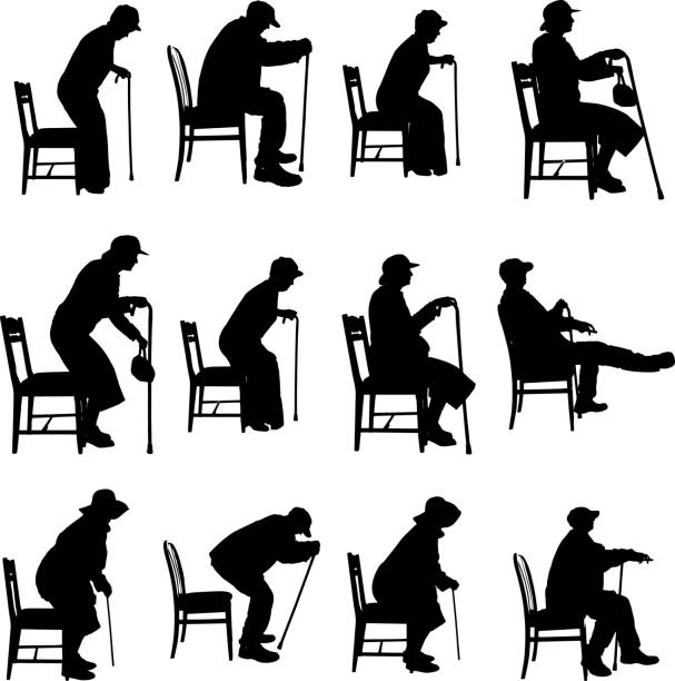 vector silhouette of people. - old man sitting chair clip art stock illustrations, clip art, cartoons, & icons