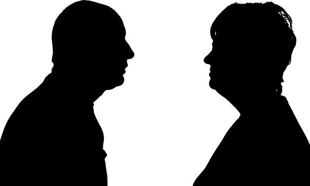 vector silhouette of people. - old man face silhouettes stock illustrations, clip art, cartoons, & icons