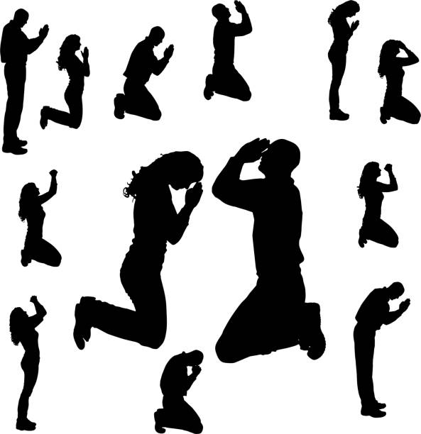 vector silhouette of people. - prayer 幅插畫檔、美工圖案、卡通及圖標
