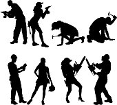 Vector silhouette of people who work with tools.