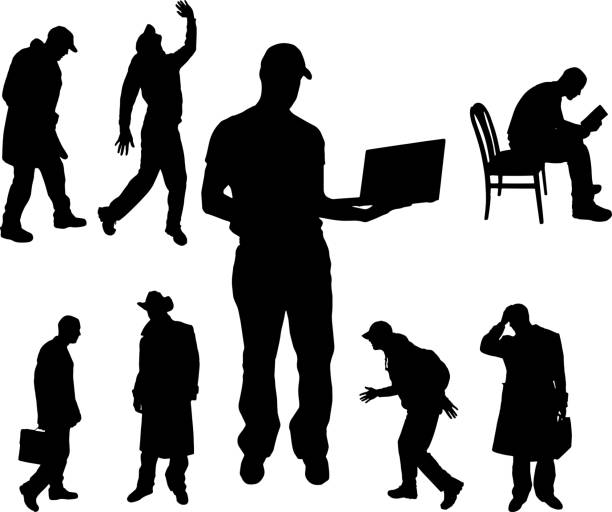 vector silhouette of people. - old man computer silhouette stock illustrations, clip art, cartoons, & icons
