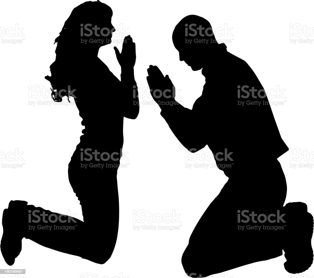 Vector silhouette of people who pray. vector art illustration