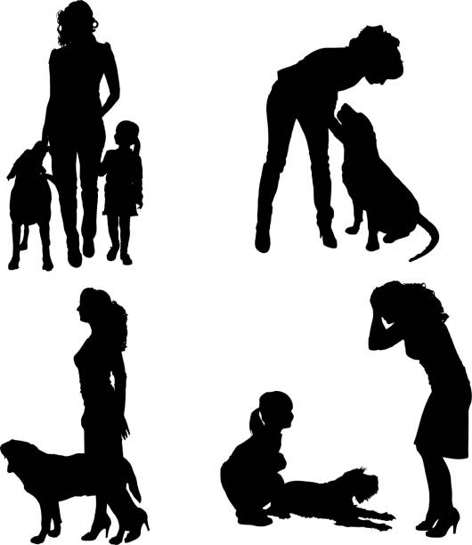 vector silhouette of people with dog. - old man sitting chair silhouettes stock illustrations, clip art, cartoons, & icons