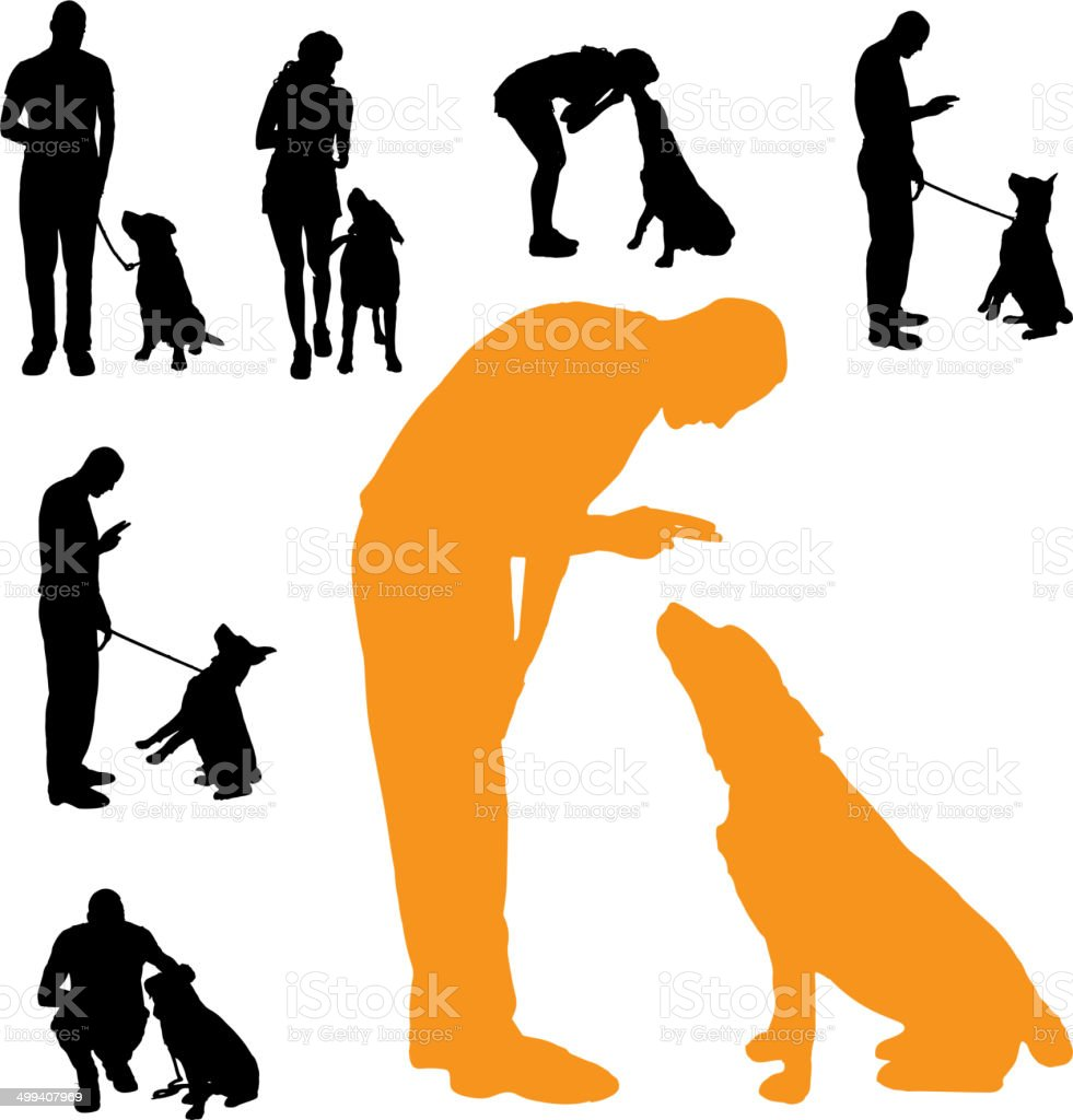 Vector silhouette of people with dog. vector art illustration