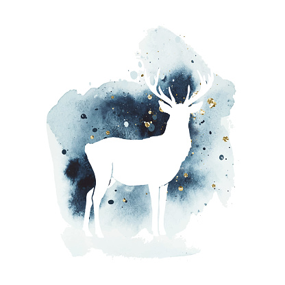 Vector silhouette of reindeer. Watercolor print with isolated animal in dark and golden colors. White deer vector illustration and watercolor splash