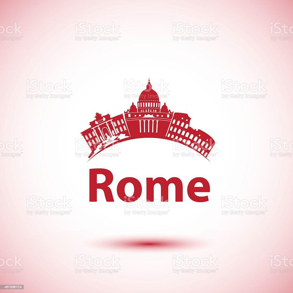 Vector silhouette of Rome. City skyline vector art illustration