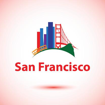 Vector silhouette of San Francisco, USA