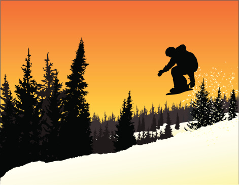 Vector Silhouette of Snowboarder in mid-air jump at sunset.