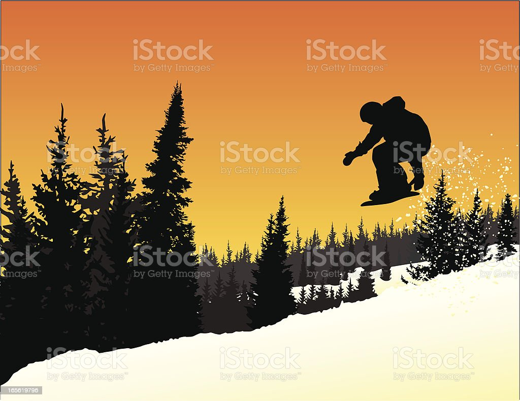 Vector Silhouette of Snowboarder in mid-air jump at sunset. vector art illustration