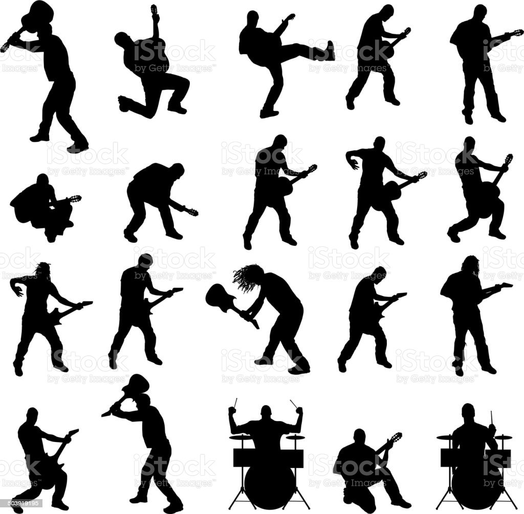 Vector silhouette of the band. vector art illustration