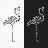 Vector Silhouette of the heron of their ornate shapes and curls