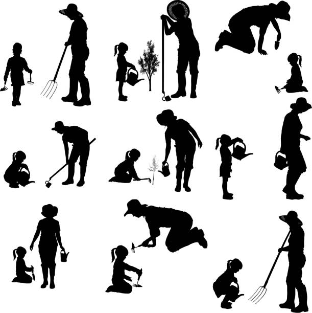 illustrazioni stock, clip art, cartoni animati e icone di tendenza di vettoriale silhouette della donna. - farmer