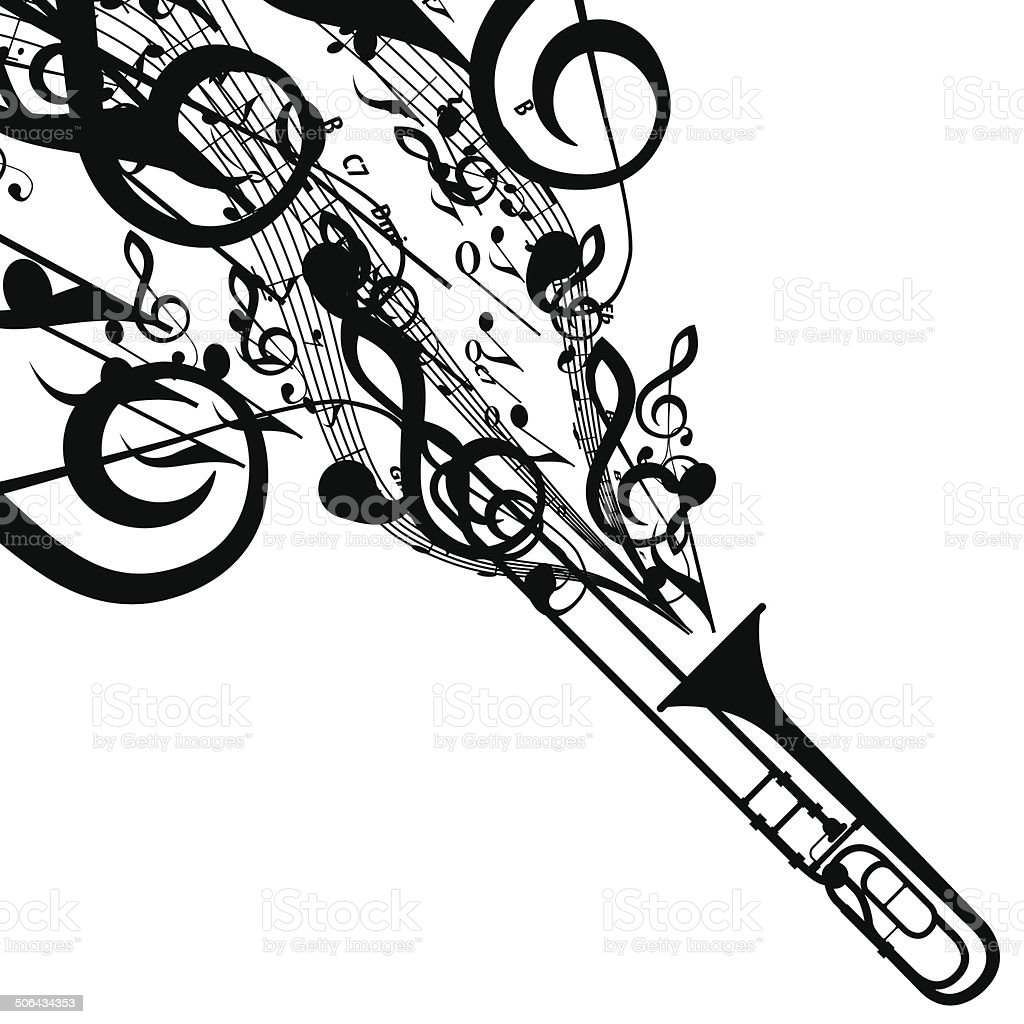 Vector silhouette of trombone with musical symbols stock vector vector silhouette of trombone with musical symbols royalty free vector silhouette of trombone with musical buycottarizona Gallery