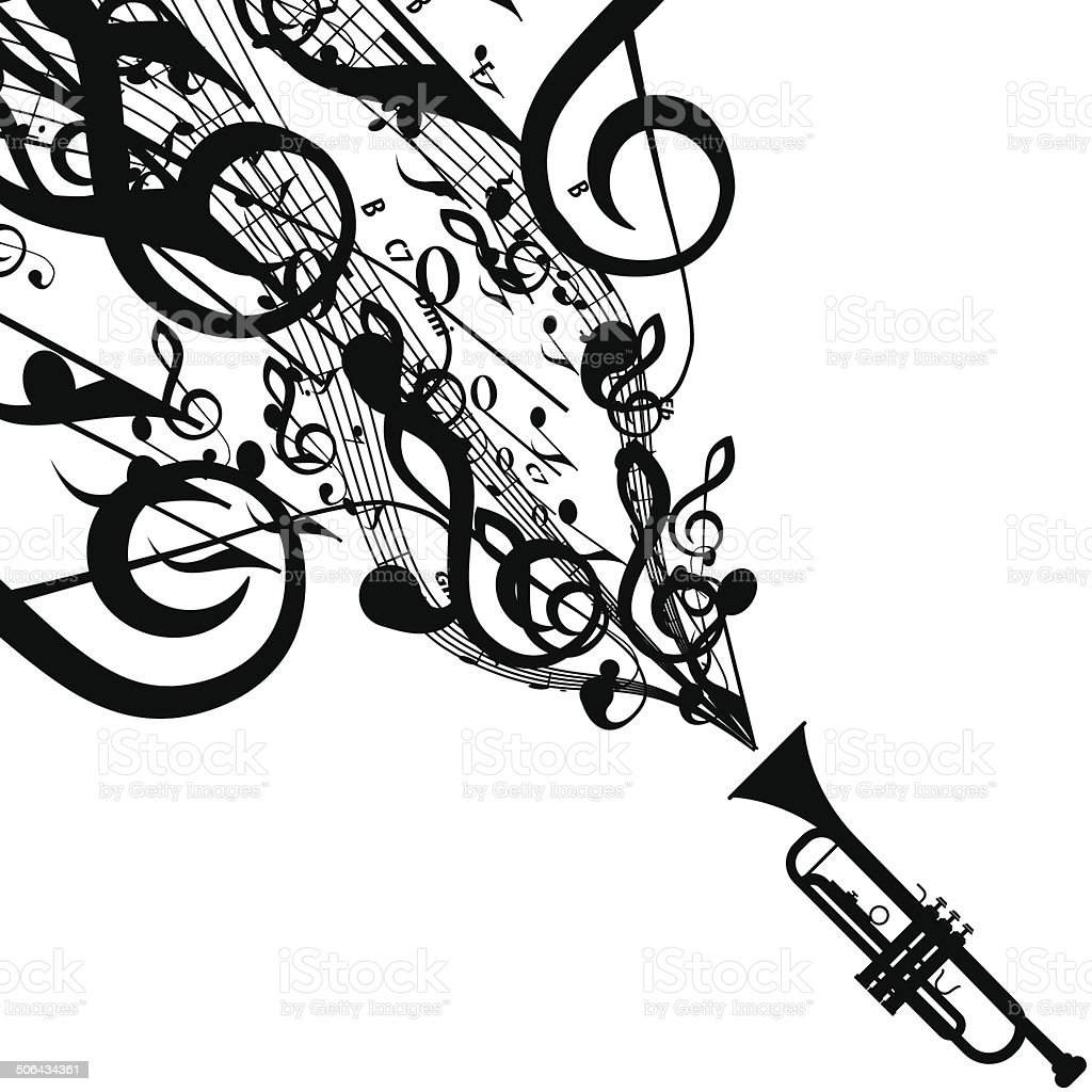 Vector silhouette of trumpet with musical symbols stock vector art vector silhouette of trumpet with musical symbols royalty free vector silhouette of trumpet with musical biocorpaavc Images