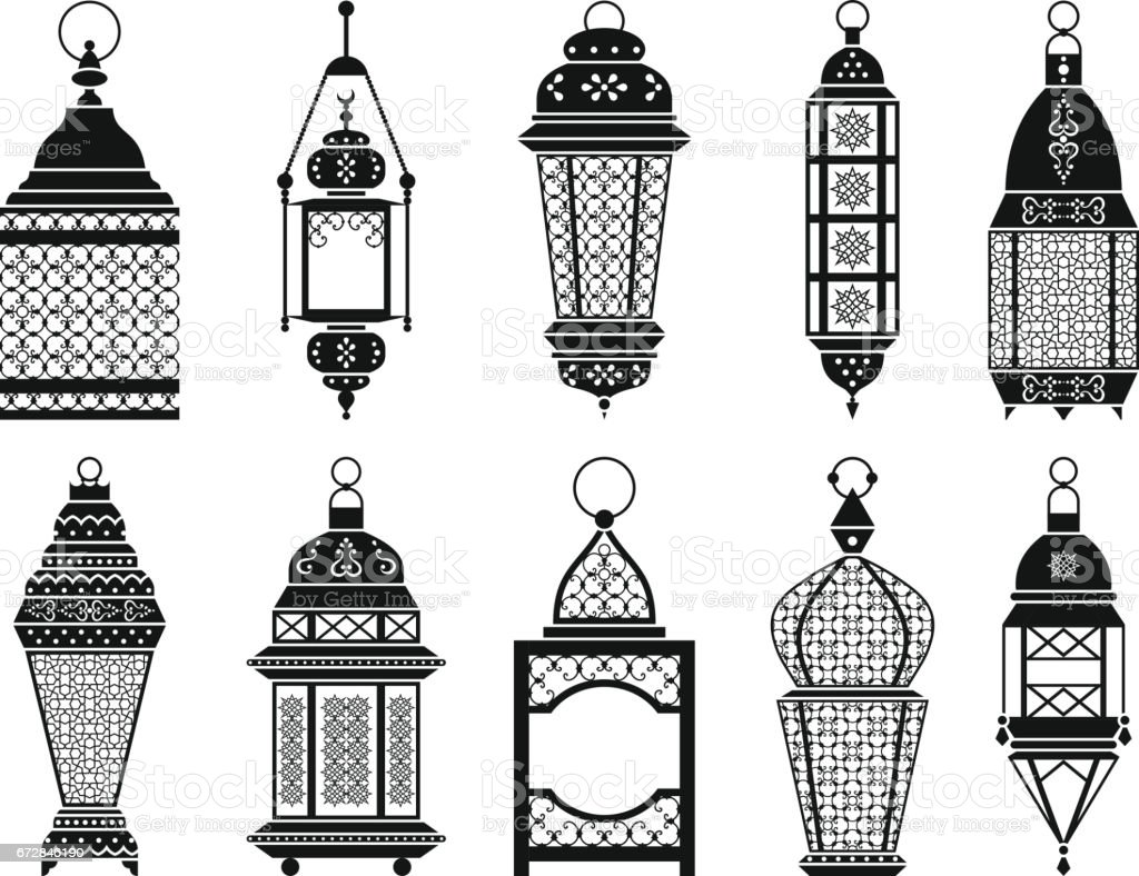 vector silhouette of vintage arabic lanterns and lamps isolate on white background stock vector