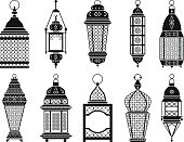 Vector silhouette of vintage arabic lanterns and lamps isolate on white background