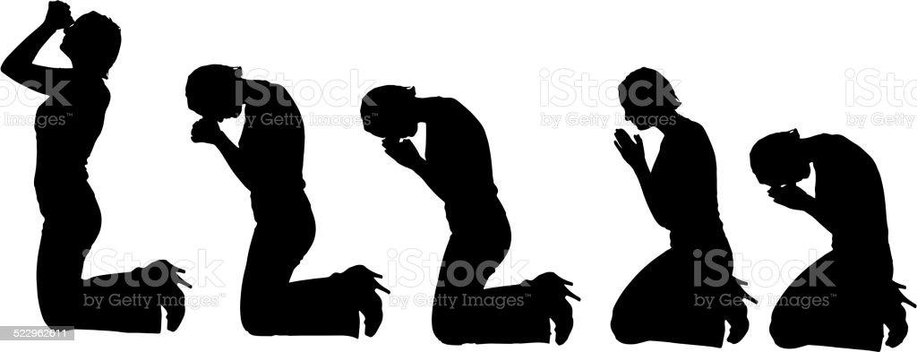 Vector silhouette of woman. vector art illustration