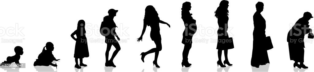 Vector silhouette of woman. vector art illustration