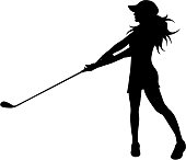 Vector silhouette of woman who play golf on white background.