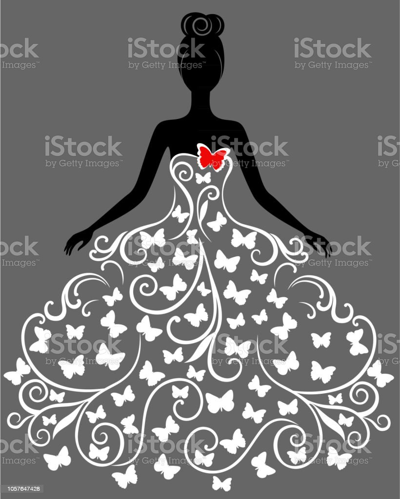 3cded923b Silhueta de vetor da jovem mulher de vestido ilustração de silhueta de vetor  da jovem mulher