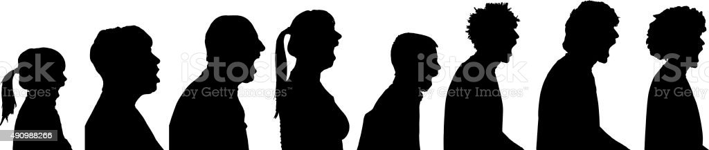 Vector silhouette profile of people.
