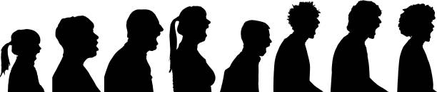 Vector silhouette profile of people. vector art illustration