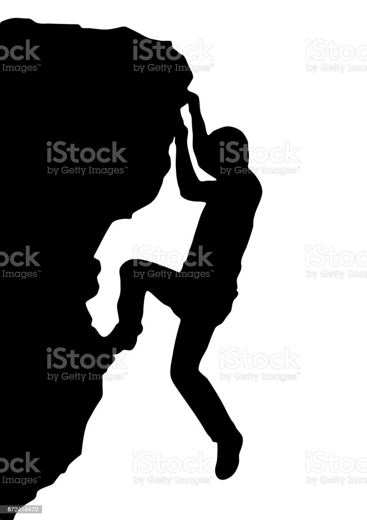Vector silhouette rock climber, successful concept - illustrazione arte vettoriale