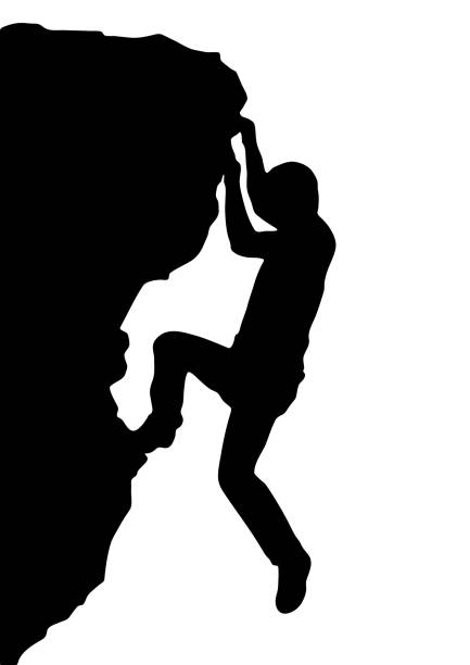 vector silhouette rock climber, successful concept - rock climbing stock illustrations, clip art, cartoons, & icons
