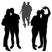 Vector silhouettes of a family couple a guy and a girl make selfies. A loving couple is embracing. Figures of woman and man receding into the distance, isolated white background stand in full growth.