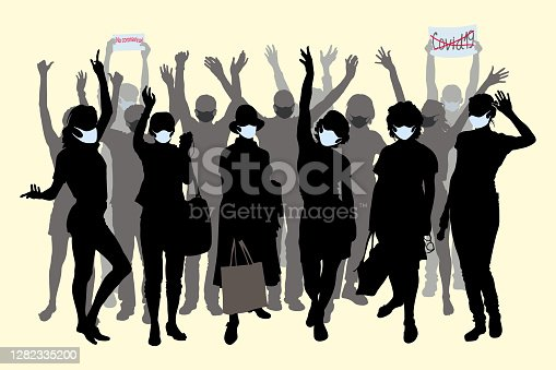 istock Vector silhouettes of a large group of young people in protective masks, women raised their hands up, waving affably, women with bags in hats, Posters in the hands of COVID 19 and No Coronavirus 1282335200