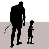 Vector silhouettes of a man and a little boy. Tired father and son go into the distance. A man carries a selfie stick, the child comes with a bottle of water. The boy looked back. Father is head down