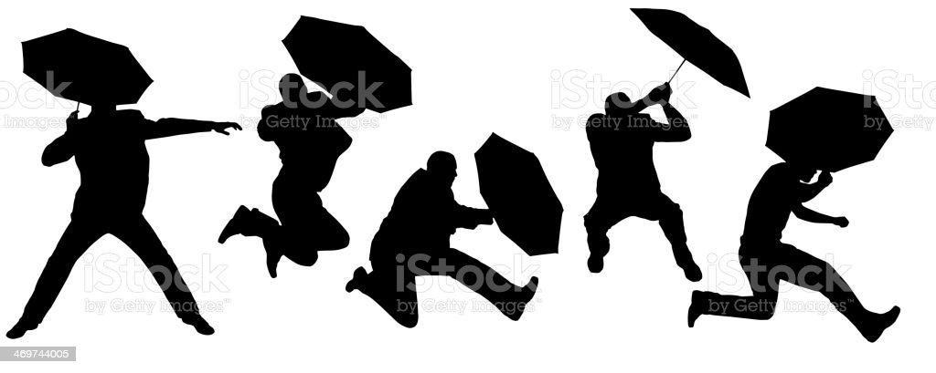 Vector silhouettes of a man dancing with an umbrella royalty-free stock vector art