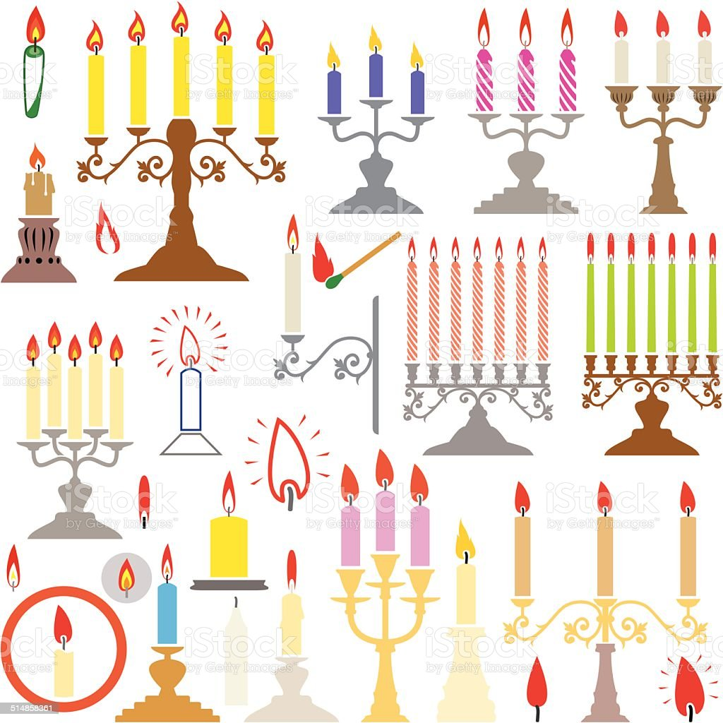 vector  silhouettes of candlesticks and candles vector art illustration