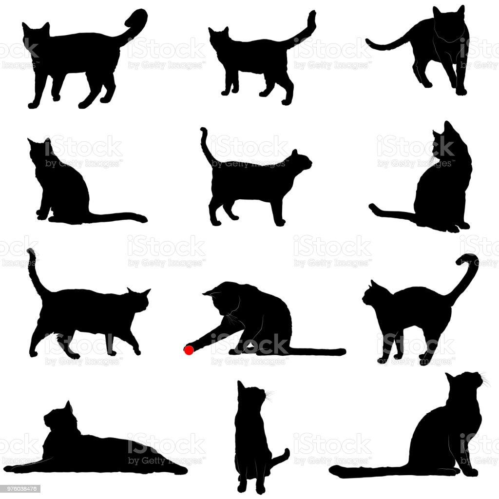 고양이의 벡터 실루엣 - 로열티 프리 걷기 벡터 아트