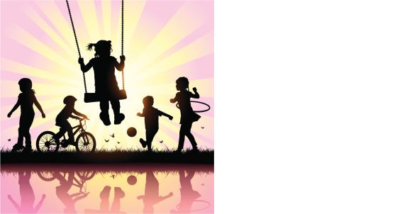 Vector silhouettes of children playing