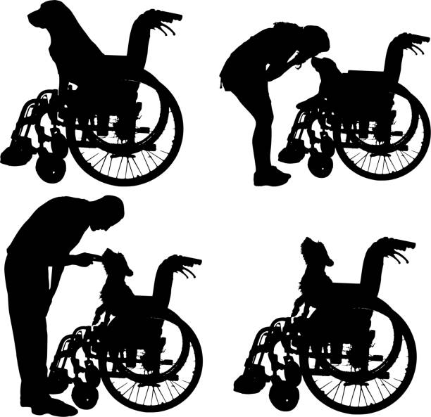 vector silhouettes of dog in a wheelchair. - old man sitting chair clip art stock illustrations, clip art, cartoons, & icons