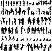 Vector silhouettes of family in the set on a white background.