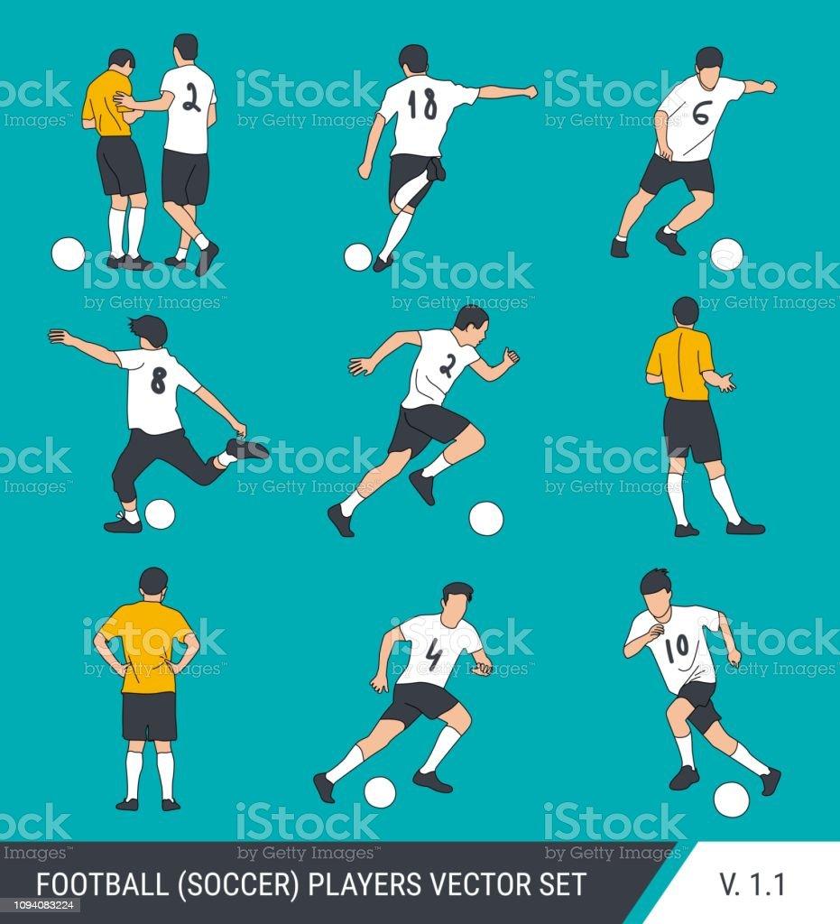 Silhuetas de vetor de jogadores de futebol. Estilo gráfico simplificado. Diferentes silhuetas de jogadores de futebol e árbitro de futebol. - ilustração de arte em vetor