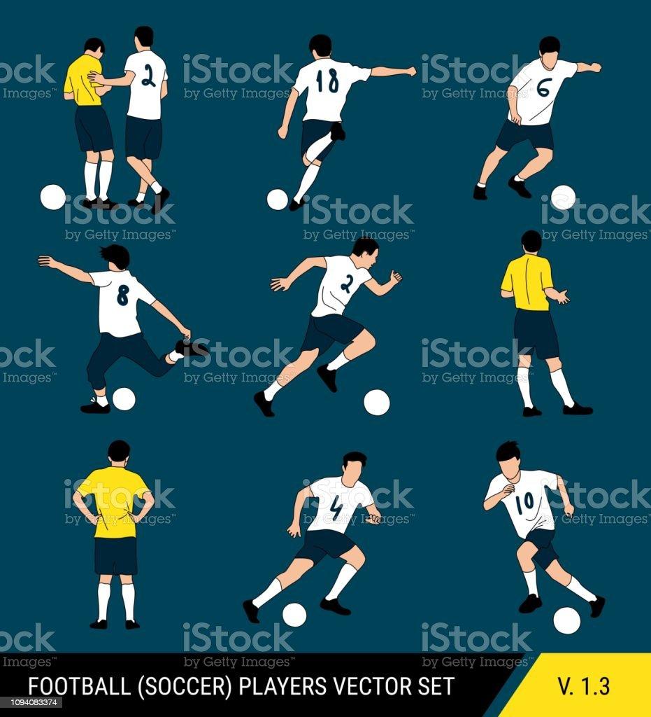 Silhuetas de vetor de jogadores de futebol em um fundo escuro. Estilo gráfico simplificado. Diferentes silhuetas de jogadores de futebol e árbitro de futebol. Conjunto de vetores de futebol. - ilustração de arte em vetor
