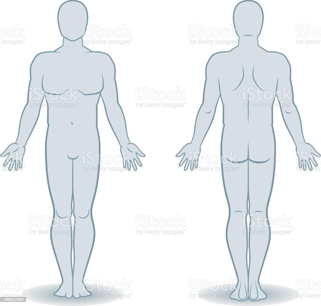 Vector Silhouetten der Mann Vorder- und Rückansicht – Vektorgrafik