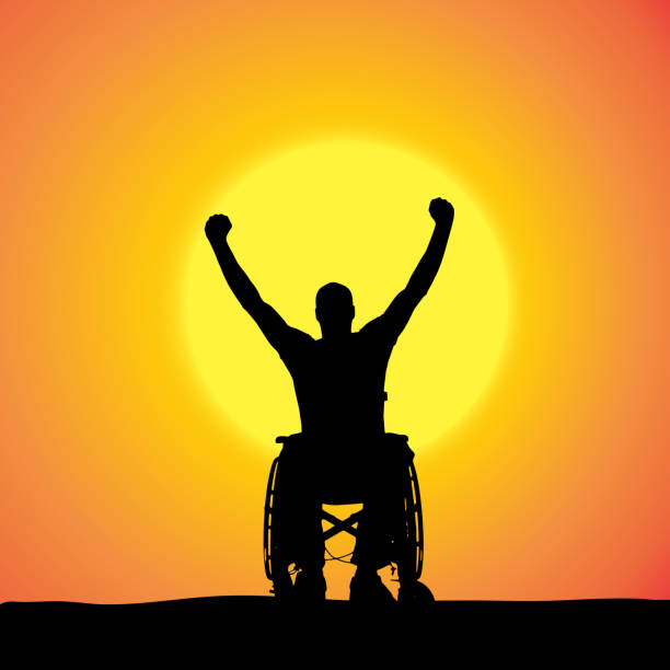 vector silhouettes of man in a wheelchair. - wheelchair sports stock illustrations, clip art, cartoons, & icons