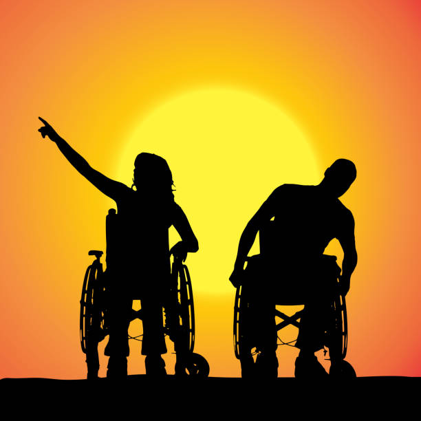 vector silhouettes of people in a wheelchair. - wheelchair sports stock illustrations, clip art, cartoons, & icons