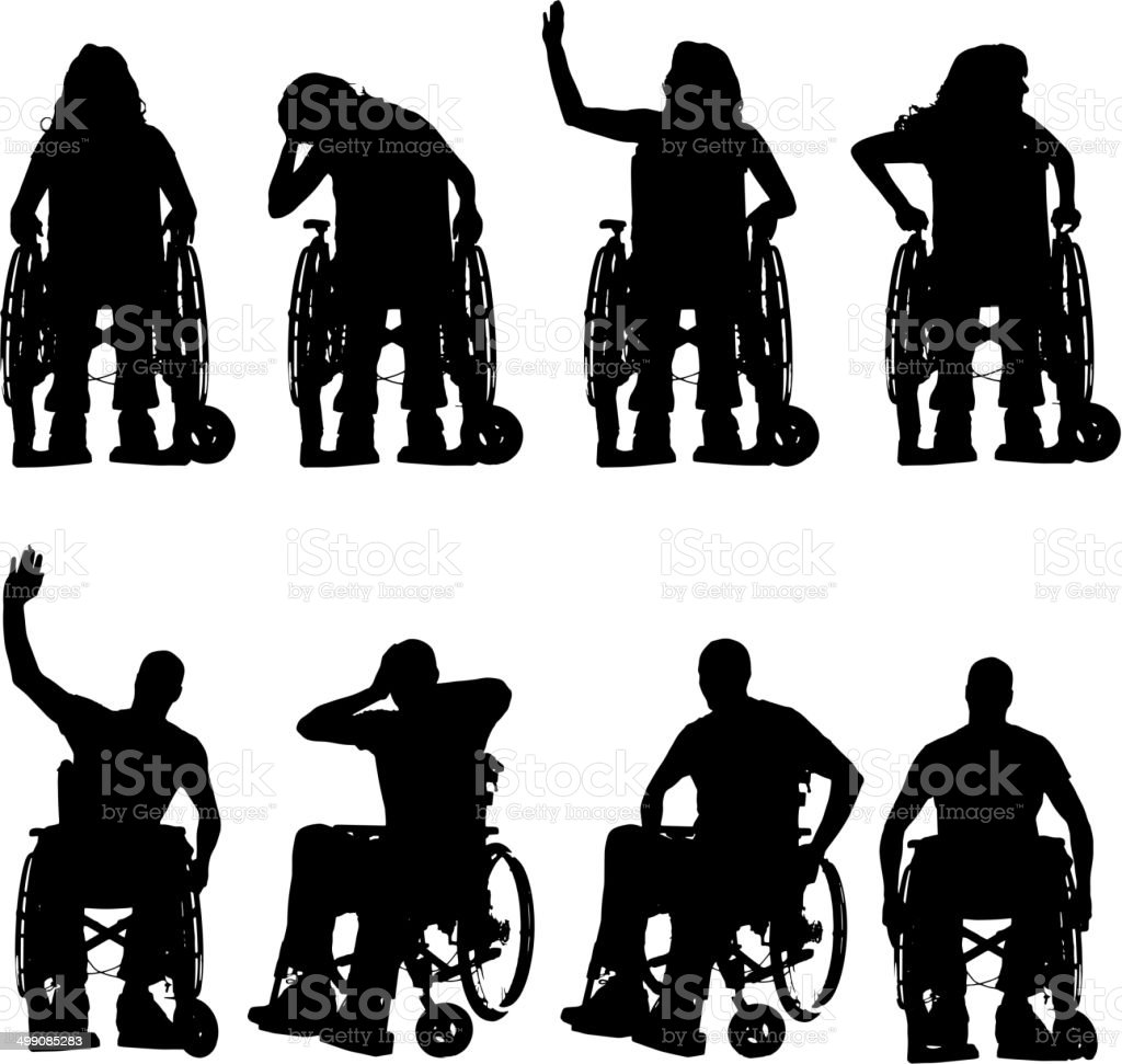 Vector silhouettes of people in a wheelchair. vector art illustration