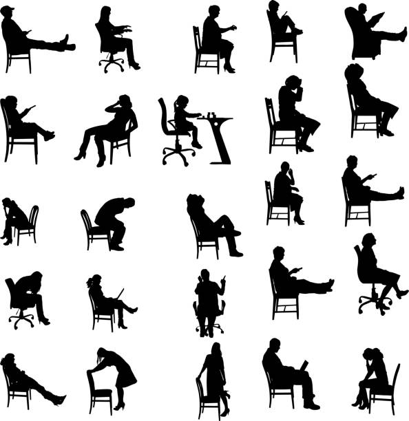 vector silhouettes of people. - old man sitting chair silhouettes stock illustrations, clip art, cartoons, & icons