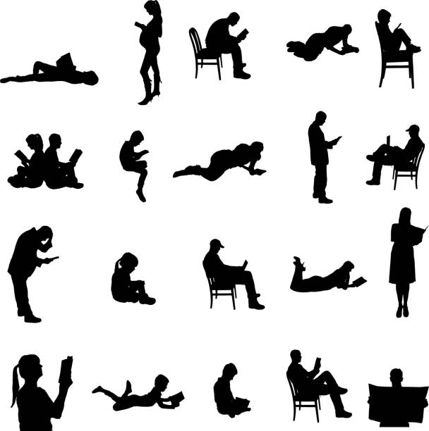 Vector silhouettes of people. Vector silhouettes of people sitting in a chair. book silhouettes stock illustrations