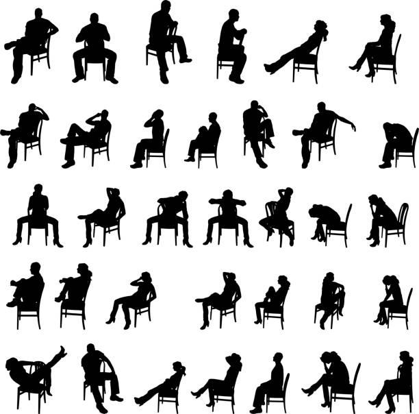 bildbanksillustrationer, clip art samt tecknat material och ikoner med vector silhouettes of people. - sitta
