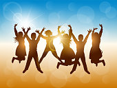 Silhouettes of happy people jumping at beach party. Summer vacation. Vector illustration